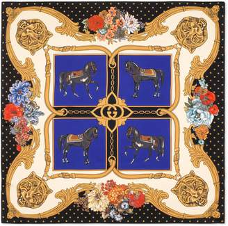 Gucci Scarf with horses and feline head print