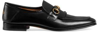 Gucci Leather fringe Horsebit loafer