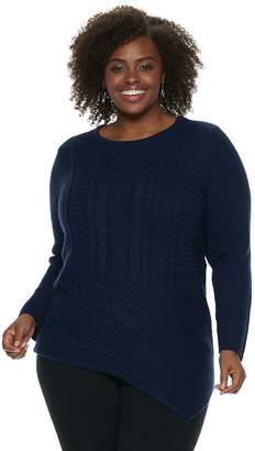 Dana Buchman Plus Size Lurex Asymmetrical Hem Sweater