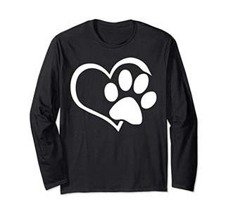 Dog Puppy Long Sleeve Shirt - I Love Dogs Paw Print Heart