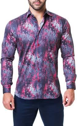 Maceoo Fibonacci Crackle Trim Fit Print Sport Shirt