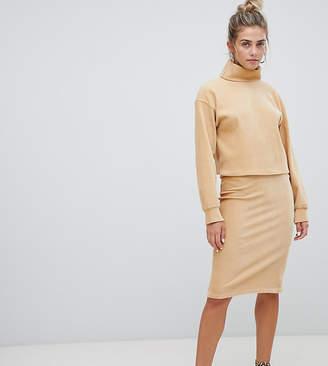 Bershka chenille tube skirt in beige