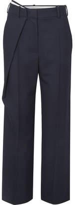 Cédric Charlier Wrap-effect Wool-twill Straight-leg Pants - Navy