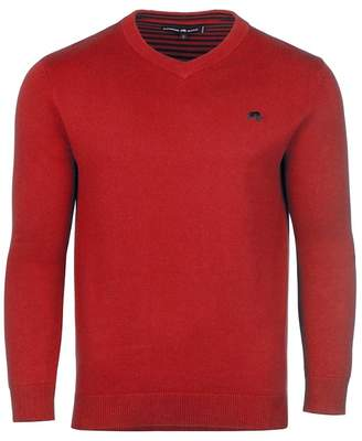 RAGING BULL Raging Bull - Red V-Neck Cashmere Mix Sweater