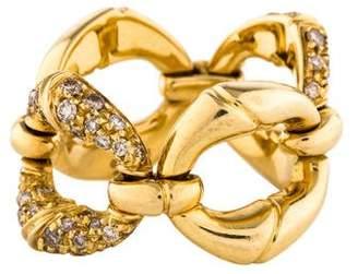 Gucci 18K Diamond Bamboo Ring