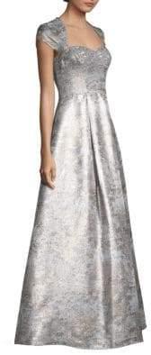 Aidan Mattox Cap Sleeve Metallic Jacquard Gown