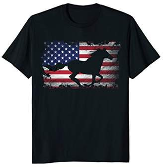 Horse T Shirt American Flag USA Patriotic Horse Gift