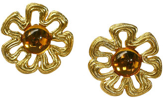 One Kings Lane Vintage Givenchy Oversize Honey Amber Earrings - Wisteria Antiques Etca