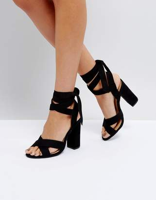 Truffle Collection Tie Up Block Heeled Sandal