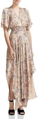 Maje Rachel Smocked Paisley-Print Maxi Dress
