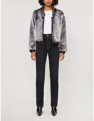 J Brand Ashbey V-neck faux-fur jacket