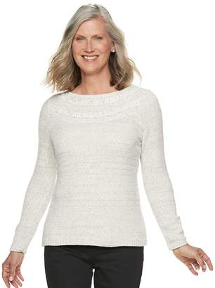Croft & Barrow Petite Chenille Boatneck Sweater