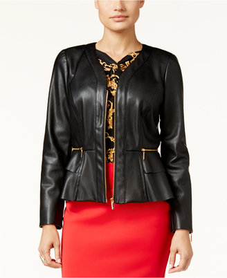 Thalia Sodi Faux-Leather Peplum Jacket, Only at Macy's $99.50 thestylecure.com