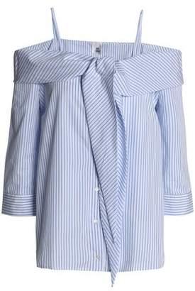 Iris & Ink Cold-Shoulder Striped Cotton-Poplin Top