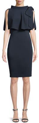 Badgley Mischka Capelet Bow-Shoulder Popover Sheath Dress