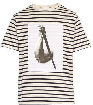 J.W.Anderson X Albrecht Durer Print Striped Cotton T Shirt - Mens - Cream