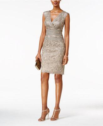 Tadashi Shoji Bandage-Detail Lace Sheath Dress $399 thestylecure.com
