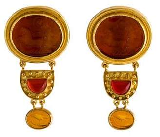 Elizabeth Locke 18K Glass Intaglio & Carnelian Convertible Earrings