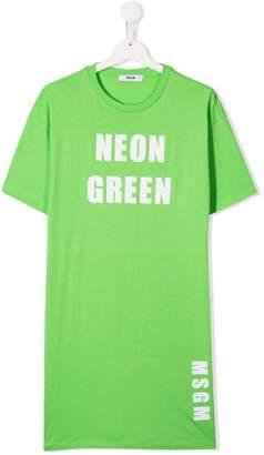 MSGM Kids Neon Green print T-shirt dress