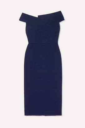 Roland Mouret Darley Off-the-shoulder Crepe Dress - Navy