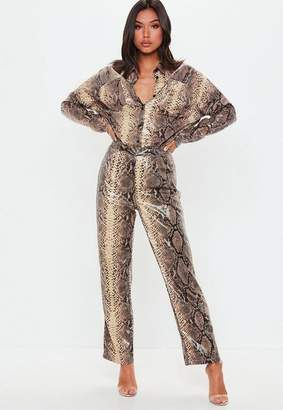 Missguided Brown Snake Print Shiny Wide Leg Pants