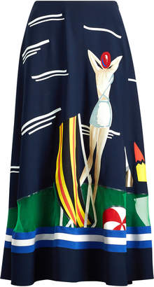 Ralph Lauren Trivelas Printed Cady Midi Skirt