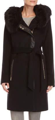 Karl Lagerfeld Black Faux Fur Trim Belted Coat