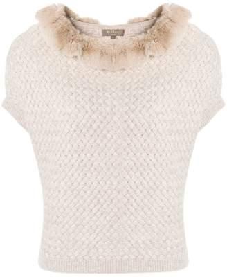 N.Peal cashmere fur collar poncho