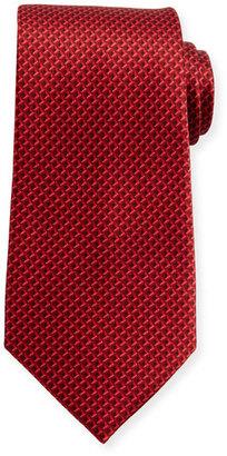 Ermenegildo Zegna Tonal 3D Diamond Silk Tie, Red $195 thestylecure.com