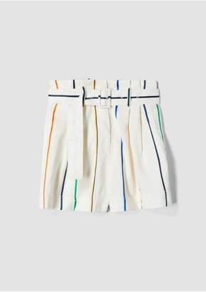 Derek Lam 10 Crosby Rainbow Stripe Belted Short