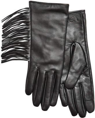 Calvin Klein Fringe Leather Gloves