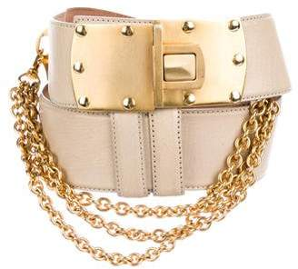 Donna Karan Embellished Leather Belt