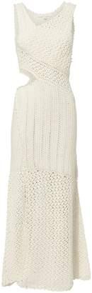 Jonathan Simkhai Pearl Embellished Crochet Maxi Dress