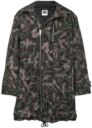 Les Hommes Urban hooded camouflage coat