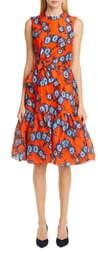 Carolina Herrera Floral Bow Waist Silk Dress