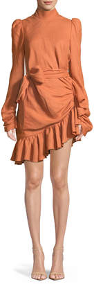 Zimmermann High-Neck Asymmetric Linen Flounce Mini Dress