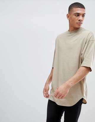 BEIGE ASOS DESIGN oversized longline t-shirt with deep curved hem in