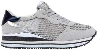 30mm Fishnet & Glittered Fabric Sneakers