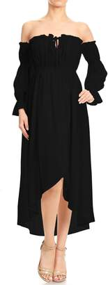 Off-White Anna-Kaci Womens Boho Long Sleeve Off Shoulder Renaissance Peasant Dress