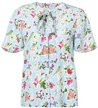 Carolina Herrera tied neckline printed top