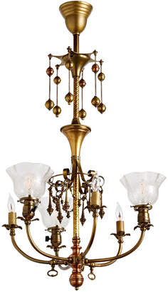 Rejuvenation Remarkable 6-Light Gas/Electric Chandelier w/ Dangling Ornaments