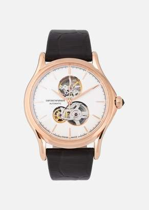 Emporio Armani Automatic Swiss Made Watch With Leather Strap