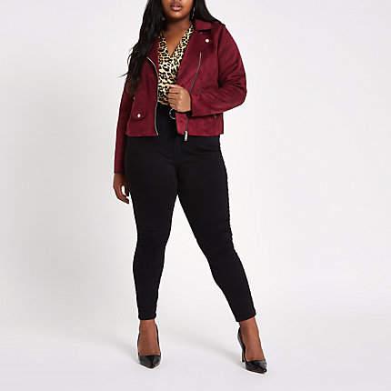 Womens Plus dark Red faux suede biker jacket
