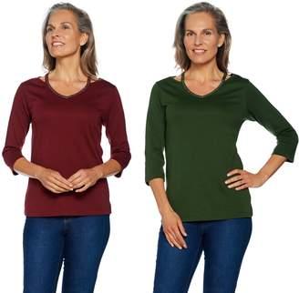 Factory Quacker Set of 2 Chic Sparkle Cut-Out V-Neck Knit T-shirts