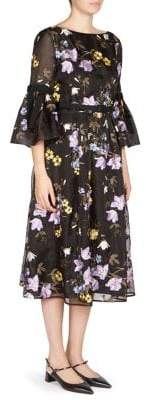 Erdem Ailsa Floral Bell-Sleeve Silk Dress