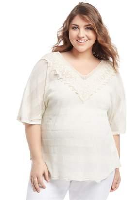 Motherhood Maternity Plus Size Lace Trim Maternity T Shirt