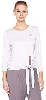 Halina Athletics Quick-Dry Crewneck Long Sleeve Twisted Knot Hem T-Shirt Workout Top