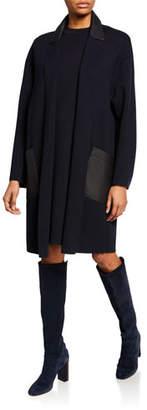 Loro Piana Cashmere Open-Front Leather-Trim Sweater