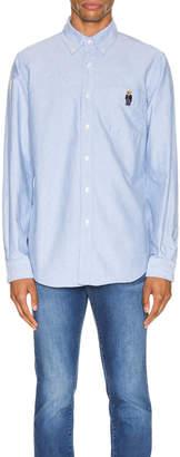Polo Ralph Lauren Long Sleeve Oxford Shirt in Blue Bear | FWRD