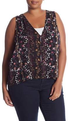 Melrose and Market V-Neck Button Front Tank Top (Plus Size)